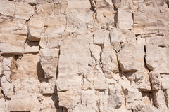 Limestone rock close up photo. Ledge in the quarry of limestone and gravel, natural deposits. Front view, background made of stone - limestone stock photography