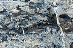 Limestone rock crossed by white veins. Limestone crossed by white veins used as building stone Royalty Free Stock Image