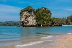 Limestone rock formation island in the sea Krabi, Thailand. Railay and Ton Sai Beach limestone rock formations good for rock climbing in Krabi province, Thailand Royalty Free Stock Photo