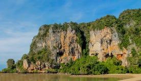 Limestone rock formation Ton Sai bay in Krabi, Thailand. Railay and Ton Sai Beach limestone rock formations good for rock climbing in Krabi province, Thailand. Stock Photography