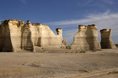 Limestone Rock Formations. Under blue skies. Monument Rocks, Kansas Royalty Free Stock Photography