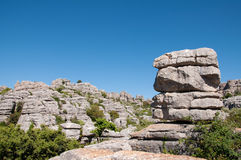 Limestone rock formations. At the el torcal nature reserve in Spain Royalty Free Stock Images