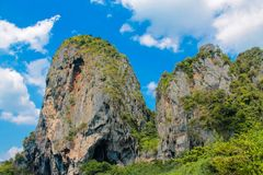 Limestone rock island in Andaman sea Thailand stock photos