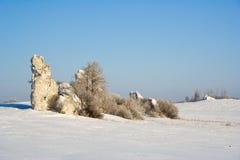Limestone rock in Jura Krakowsko-czestochowska. Poland Royalty Free Stock Images