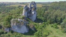 Limestone rock in Jura Krakowsko-Czestochowska. Poland. View from above. stock video