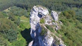 Limestone rock in Jura Krakowsko-Czestochowska. Poland. View from above. stock video footage