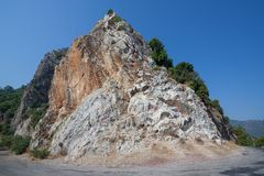 Limestone rock. Near Icmeler on the shore of the Mediterranean Sea Stock Image