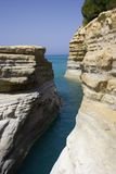 Limestone rocks. On Corfu island with sea in the background Stock Image