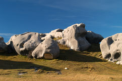 Limestone rocks at Castle Hill. Castle Hill limestone rocks and boulder, Maori sacred place, New Zealand Stock Photography