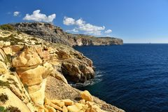 Malta Mediterranean coastline  near Blue Grotto. Limestone rocks with caves and clear water near popular tourist attraction Blue Grotto on a sunny day Royalty Free Stock Photo