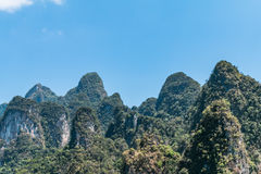 The limestone rocks in Cheow Lan Lake, Khao Sok National Park, T Stock Photos