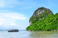 Limestone rocks in Halong Bay, Vietnam Royalty Free Stock Images