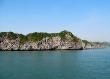 Limestone rocks in the sea stock photo