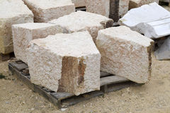 Limestone. Roughly cut limestone at a construction site Stock Photos