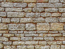 Limestone rustic home wall, sandstone surface background Royalty Free Stock Image