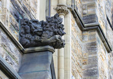 The limestone sculpture of Wolves. Stock Images
