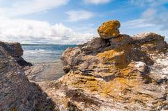Limestone sea stack in Gotland stock photos