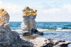 Limestone sea stack in Gotland stock image