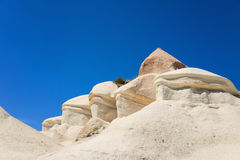 Limestone sedimentary rock with stage edges  in Cappadocia near Stock Photography