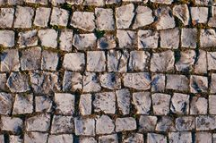 Limestone Sidewalk Irregular Surface. Taken from above, traditional pavement made in Portugal Royalty Free Stock Photo