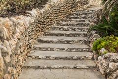 Limestone staircase. Native limestone winding staircase located at the San Antonio Japanese Tea Garden in Brackenridge Park, San Antonio, Texas. Image taken on Stock Image