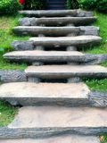 Limestone stairs, Stone steps in garden. stock images