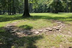 Limestone Stone Circle replica at Fort Ancient. Fort Ancient State Memorial is a collection of Native American Earthworks which is located in Ohio, United Stock Photo