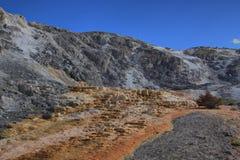 Limestone travertine deposits at mammoth Hot Springs Stock Photo