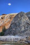 Limestone travertine deposits at mammoth Hot Springs Stock Photos