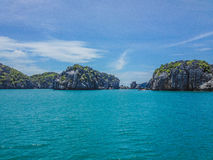 Limestone tropical island cliffs Royalty Free Stock Photos