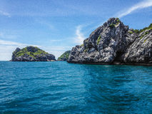 Limestone tropical island cliffs stock images