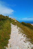 Limestone Walking path along the White Cliffs of Dover with seagull flying over Royalty Free Stock Images