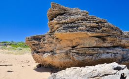 Limestone Wedge: Cape Peron Beach, Western Australia Royalty Free Stock Images