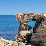 Limestone Window into the Turquoise Indian Ocean, Western Australia royalty free stock images