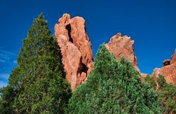 Garden of the Gods , Colorado Springs With Pines and Sandstone and Limestone formations stock photos