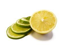 Limette découpée en tranches avec le citron Photographie stock libre de droits