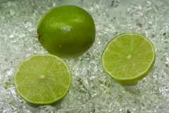 Limette. Fresh lime on cold ice Stock Photography