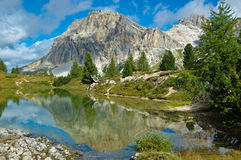 Limides Lake, Dolomites - Italy. View of the Limides Lake and Mount Lagazuoi, Dolomites - Italy royalty free stock image