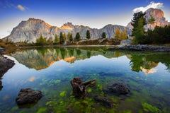 Limides Lake and Mount Lagazuoi, Dolomites Stock Image