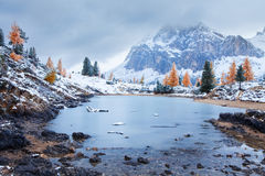 Limides Lake and Mount Lagazuoi, Dolomites Stock Photos