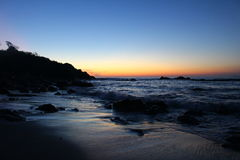 A Liminal Oceanscape in Oaxaca. The end of a Pacific Sunset in Puerto Escondido, Mexico Stock Images