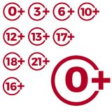 Limit age icon on red background. Icons age limit vector flat illustration. Limit age icon on red background. Icons age limit from six to twenty-one, vector vector illustration