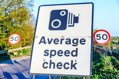 50 limit average speed check signpost UK Motorway exit.  Royalty Free Stock Images