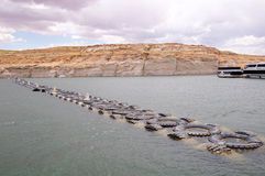 Limit of truck tires in the  in Lake Powell Royalty Free Stock Photo