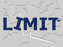 Limit. The word limit with many cracks on it stock illustration