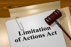 Limitation of Actions Act - legal concept. 3D illustration of `Limitation of Actions Act` title on legal document Royalty Free Stock Photography