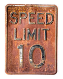 Limitation de vitesse 10 M/H Photographie stock libre de droits