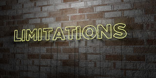 LIMITATIONS - Glowing Neon Sign on stonework wall - 3D rendered royalty free stock illustration Stock Photo