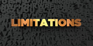 Limitations - Gold text on black background - 3D rendered royalty free stock picture Royalty Free Stock Image