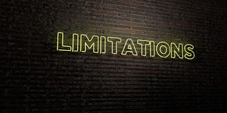 LIMITATIONS -Realistic Neon Sign on Brick Wall background - 3D rendered royalty free stock image Royalty Free Stock Photo